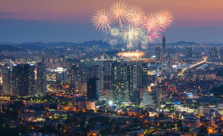 Fireworks Festival in Seoul, South Korea. Stock Photo