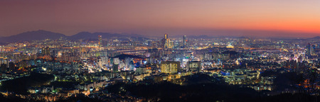Seoul City Panorama and Downtown skyline in Seoul, South Korea photo