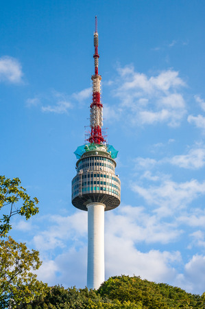 The spire of N Seoul Tower, or Namsan Tower, and the blue skies above Seoul photo