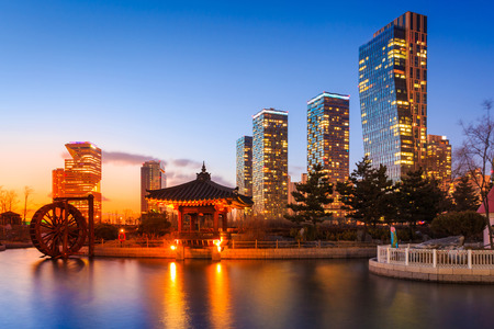incheon: Songdo Park and Songdo District at Incheon, South Korea Stock Photo