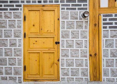 wooden door, traditional  korean style. photo