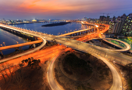 Traffic of Seoul City and The Bridge and Han River, South Korea. photo