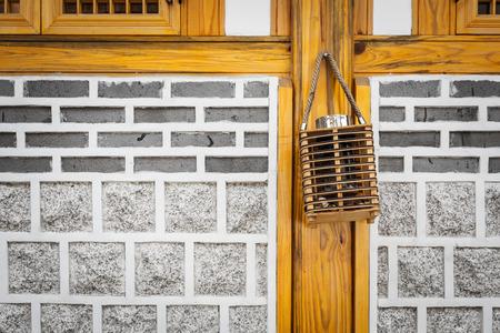 korean style house: brick wall of traditional house, Korean style.