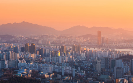 Seoul City and Han River at Yeouido in Seoul, South Korea. photo