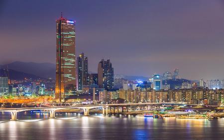 Seoul City and Han River at Yeouido, South Korea. photo
