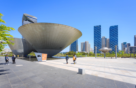 incheon: SongdoSouth Korea  May 05 2015: Tribowl Building at Central Park in Songdo district Incheon South Korea.