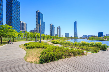 incheon: Songdo,South Korea - May 05, 2015: Songdo Central Park in Songdo District, Incheon South Korea. Editorial