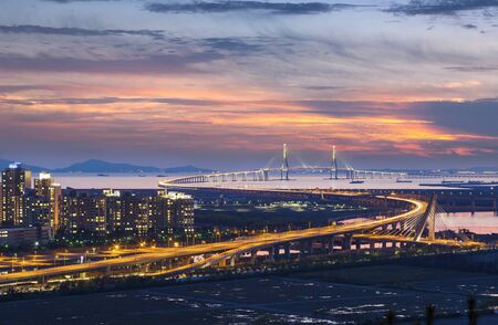 incheon: Incheon bridge at Sunset in Aerial view, South Korea.