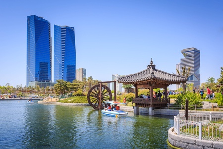 incheon: Songdo,South Korea - May 05, 2015: Songdo Central Park in Songdo International Business District, Incheon South Korea. Editorial