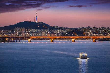 Seoul city and bridge and Han river, South Korea.