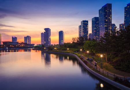 Songdo Central Park in Songdo International Business District, Incheon Zuid-Korea. Stockfoto