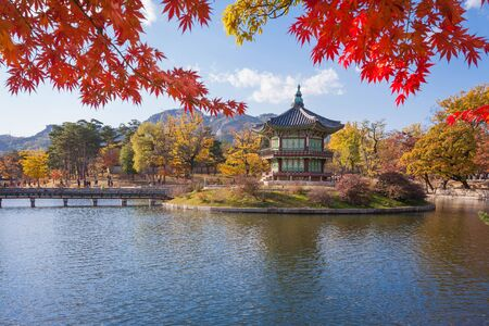 gyeongbokgung: Gyeongbokgung palace in autumn, Seoul, South korea. Editorial