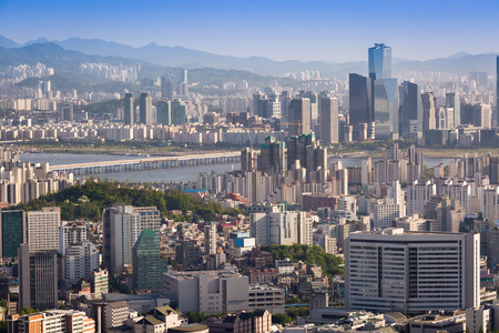 Seoul city in daylight wiht han river, Seoul, South korea. Stock Photo
