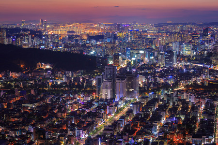 n: Seoul City in Twilight, South Korea.