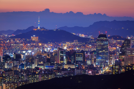 Seoul City at Night with Seoul Tower, South Korea