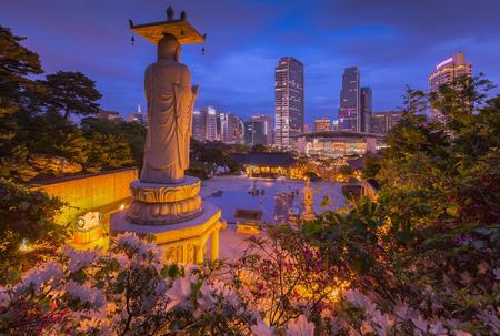 Korea Cityscape at Bongeunsa Temple in Gangnam District of Seoul, Korea.