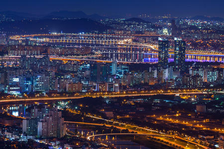 turnpike: Seoul city and bridge and Han river at night,  South Korea. Stock Photo