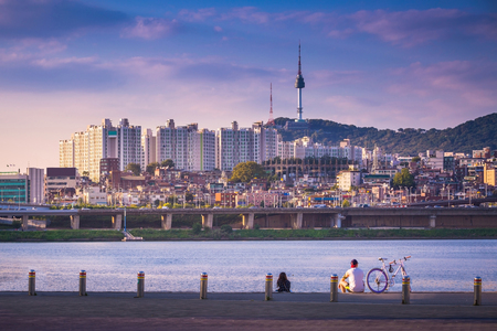 turnpike: han river and n seoul tower, seoul city in daytime, south korea. Stock Photo