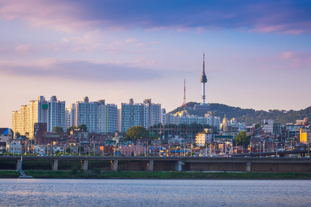 turnpike: seoul city in daytime, han river and n seoul tower, south korea.