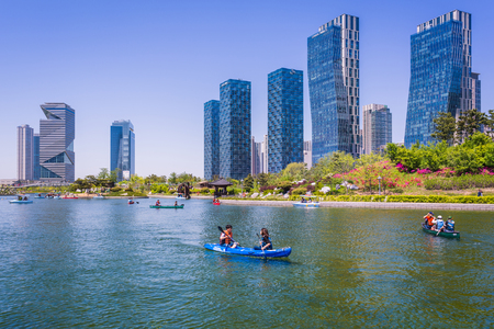 incheon: Incheon, South Korea - May 05, 2015: Central park in Songdo International Business District, Incheon South Korea.