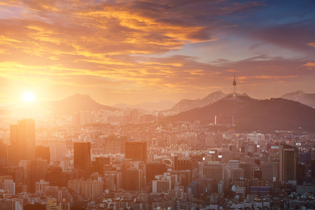 Seoul City in Beautiful sunset with Seoul Tower, South Korea.