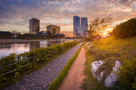 The park of seoul city with beautiful sunset, Central park in Songdo International business district, Incheon South Korea.