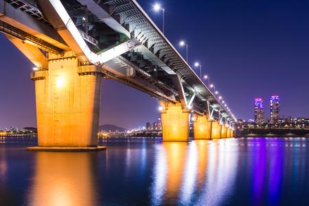 thoroughfare: Bridge in korea and han river, cheongdamdaegyo or cheongdam bridge in Seoul, South Korea.