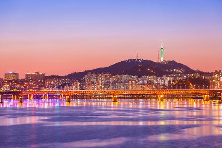 Seoul city and Bridge, Beautiful night of Korea with Seoul Tower at night, South Korea. Stock Photo