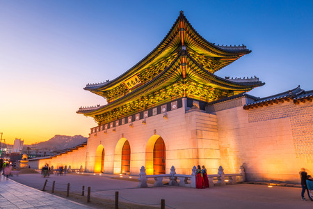 Gyeongbokgung Palace, front of Gwanghuamun gate in downtown Seoul, South Korea. Name of the Palace 'Gyeongbokgung' 스톡 콘텐츠