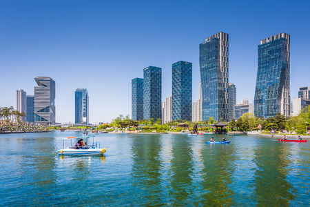 Incheon, South Korea - May 05, 2015: People are boating in the summer of korea at Central park in Songdo District, Incheon South Korea. Editorial