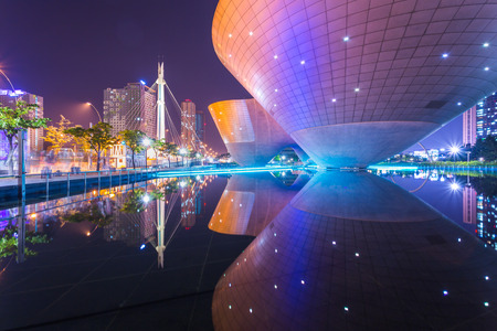 Incheon, South Korea - Tri-bowl Building at Central Park in Songdo district, Incheon, South Korea. Archivio Fotografico