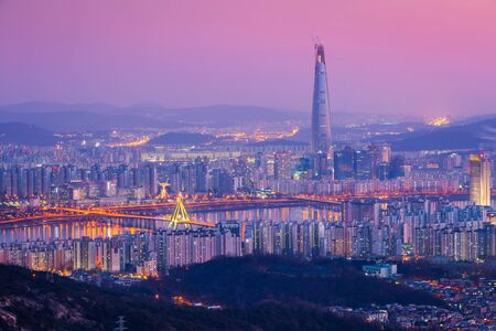 Korea landmark in Seoul city and downtown skyline and skyscraper at night, The best view of South Korea with Lotte world mall, South Korea. Stock Photo