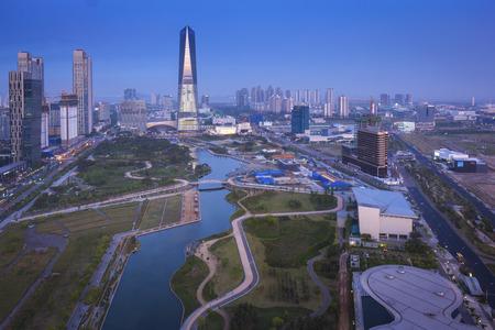 인천 송도 지구 송도 중앙 공원. 스톡 콘텐츠