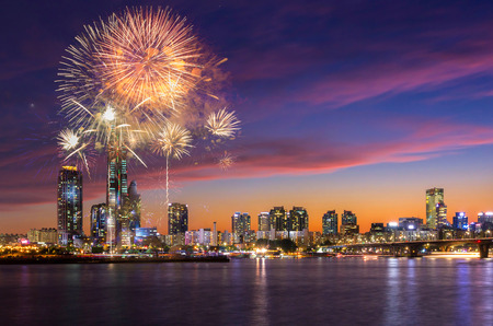 Seoul Fireworks Festival in Night city at Yeouido, South Korea. Stock Photo