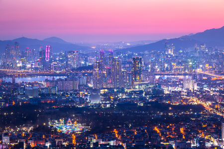 Seoul City and downtown at Night, South Korea