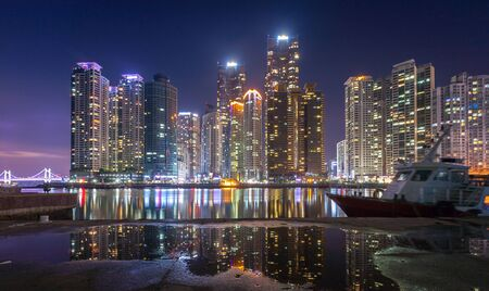 busan city and skyscrapers in Haeundae district in Busan, South Korea. 免版税图像