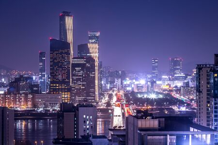 seoul city and skyscraper, yeouido at night, south korea.
