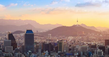 Seoul city and Downtown skyline in aerial in sunset, South Korea