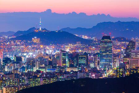 Seoul city skyline and skyscraper in downtown seoul, South Korea.