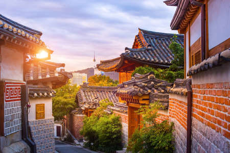 Bukchon Hanok Village Is the name traditional cultural village in downtown Seoul in the morning, with beautiful shining light, South Korea.