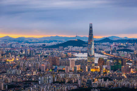 Seoul City skyline and downtown and skyscraper at night  is The best view and beautiful of South Korea at Namhansanseong mountain.