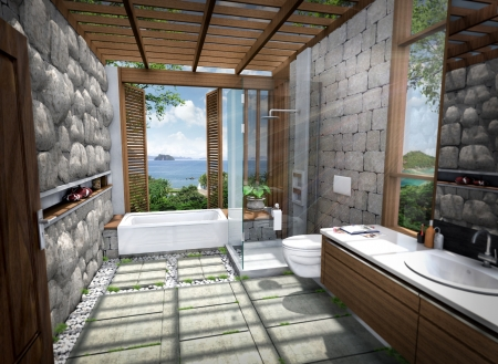 samui: 3D render of building tropical modern house resort  Stock Photo