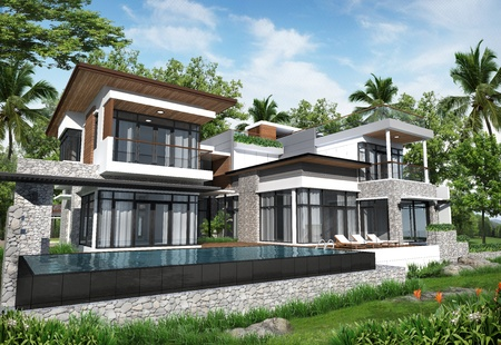 home exterior: 3D render of building tropical modern pool house in thailand