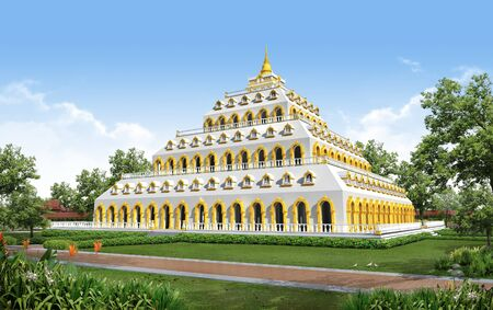 east indian: 3D render of building temple and monument in Thailand