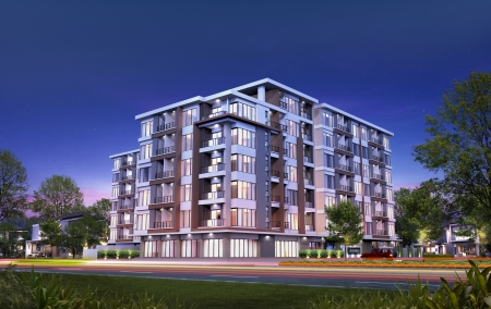 3D render of building tropical modern in night  photo