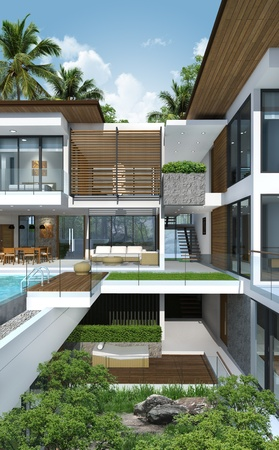 3Dof building tropical modern house