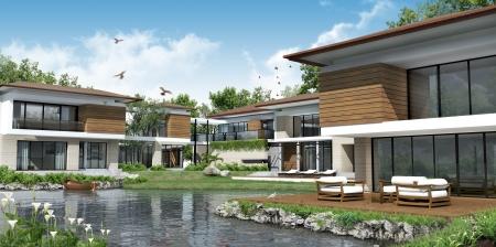 3D building modern house Imagens - 13542533