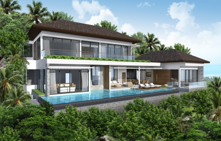3d tropical modern house  photo
