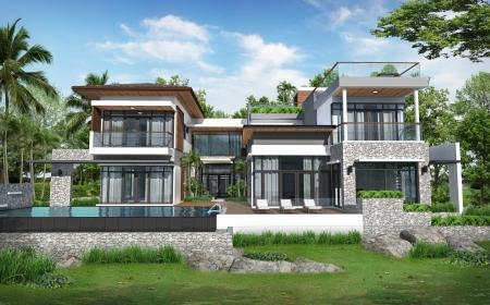 case moderne: 3D di costruire tropicale casa moderna piscina