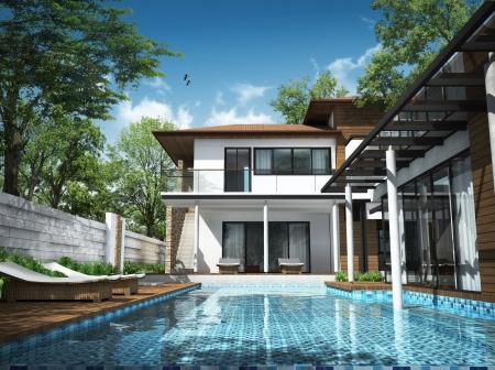 case moderne: 3D rendering di edificio Archivio Fotografico